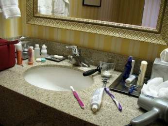 One of my bad habits: too many products on my sink. Photo Credit: The Consumerist