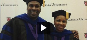 Despite many personal challenges, Vickie McBride and her son Maurice McBride graduate with PhDs together.