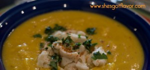 BMWK Creamy Roasted Butternut Squash Soup with Lump Crab up close WITH old bay (600x399)