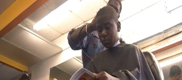 reading in barbershop