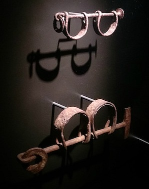 Child and adult slave shackles on display at the National Museum of American History