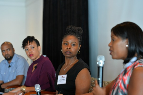 FROM L TO R: Lamar and Ronnie Tyler – founders of BlackandMarriedwithKids.com, Kara Stevens - founder of TheFrugalFeminista.com, and Tracy A. Tynes – Wells Fargo Miami Regional Brokerage Manager discuss how couples can achieve financial intimacy during a panel discussion during the kickoff session of the 3rd Annual BMWK Marriage Cruise in Fort Lauderdale, Fl on July 29, 2017.