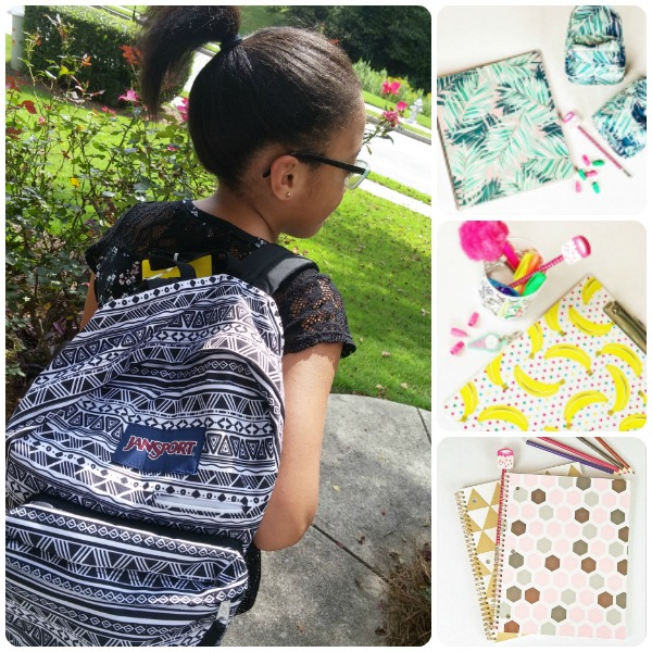 Our youngest daughter is ready for the first day of school and is really excited thanks to Office Depot.  Here favorite items are her new back pack, the banana clipboard from theHappy Thoughts collection and the mini back pack pencil pouch from theTropical Palm collection .
