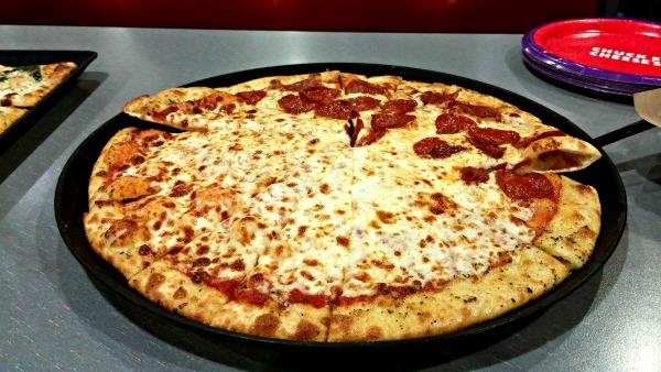 Chuck E. Cheese's traditional pizza.