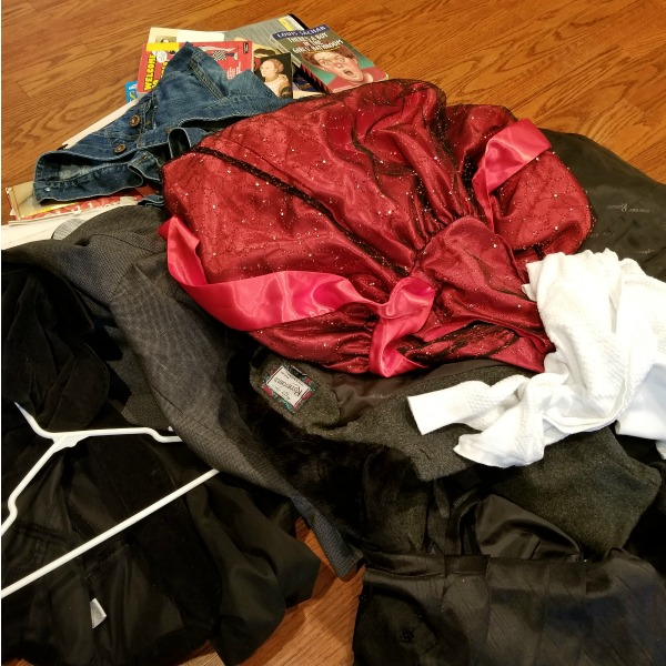 We've already started to clean our closets and desks. This is a pile of clothes and books we plan to donate when we are done Spring cleaning.